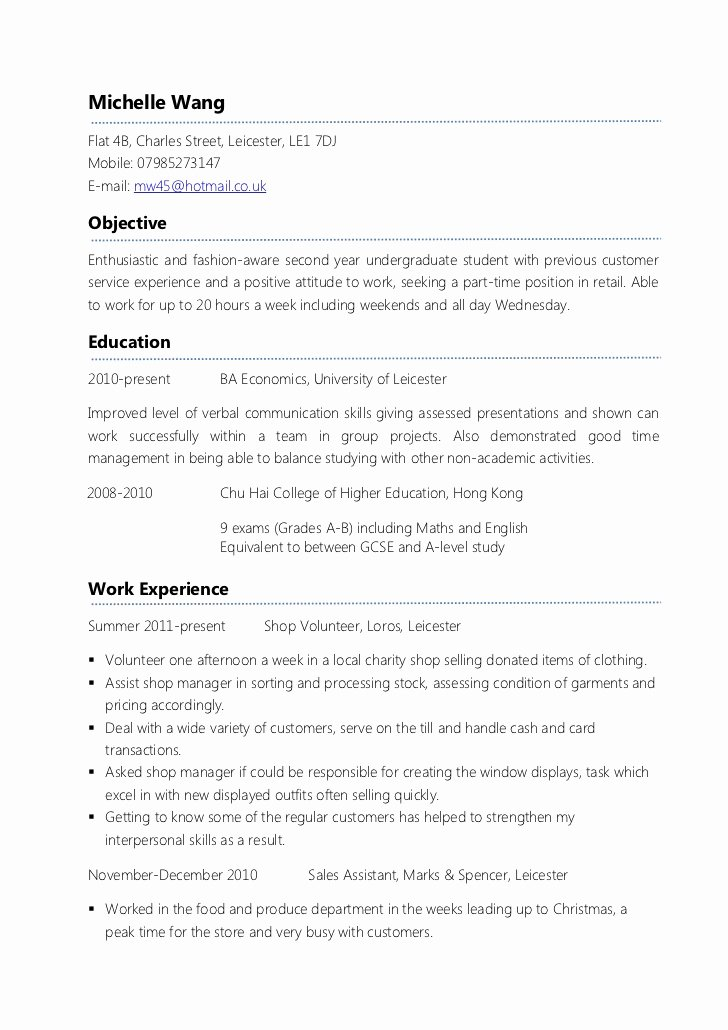 Part Time Job Resume Elegant Example Part Time Cv