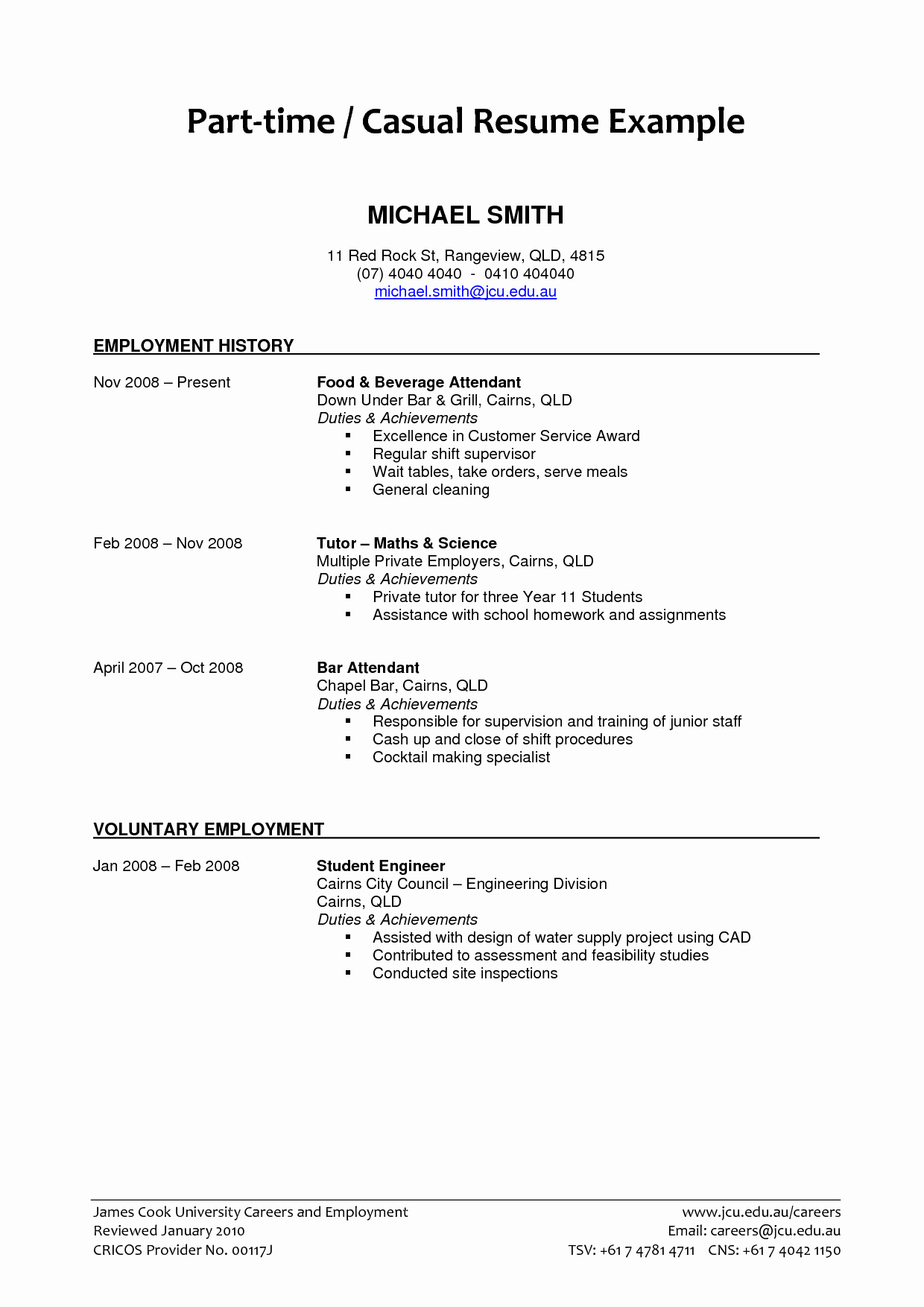 Part Time Job Resume Elegant Part Time Job Resume Examples 2019