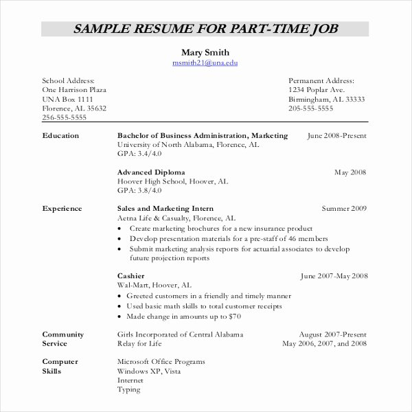 Part Time Job Resume Inspirational 12 Resume Writing Template – Free Sample Example format