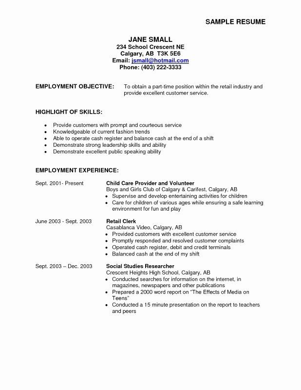 Part Time Job Resume Inspirational 6 7 Objective Examples for Resume
