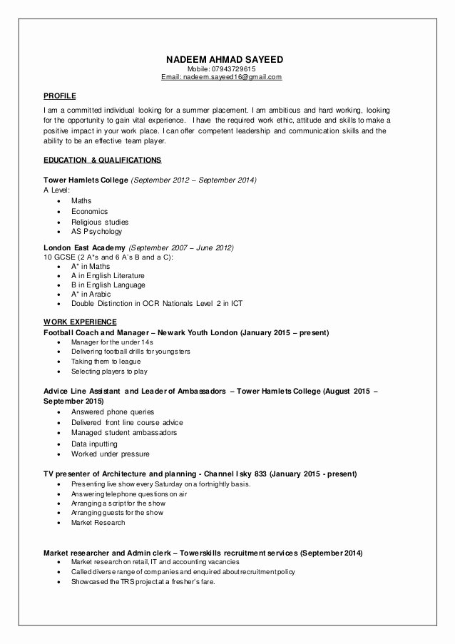Part Time Job Resume Inspirational Nadeem Cv Part Time Jobs