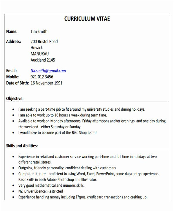 Part Time Job Resume Lovely 14 First Resume Templates Pdf Doc