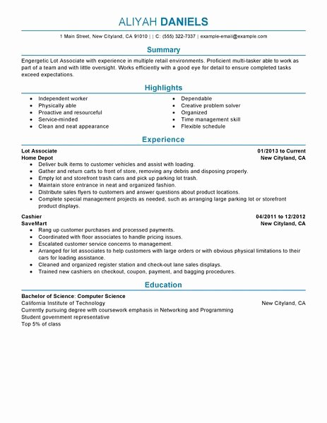 Part Time Job Resume Lovely Best Part Time Lot associates Resume Example