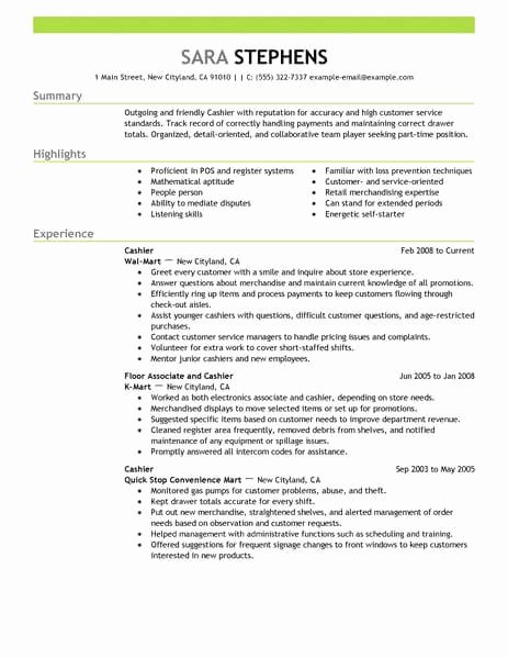 Part Time Job Resume Luxury Best Part Time Cashiers Resume Example From Professional