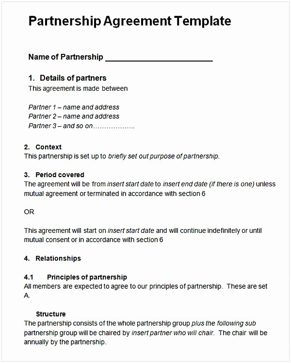 Partnership Agreement Template Word Awesome Partnership Agreement Template Word