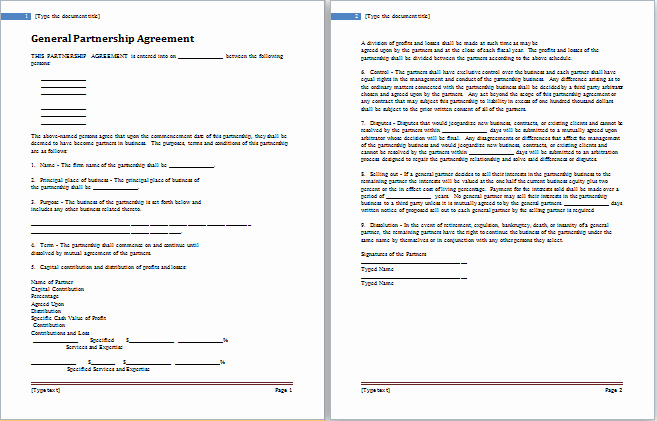 Partnership Agreement Template Word Beautiful Partnership Agreement Template for Ms Word