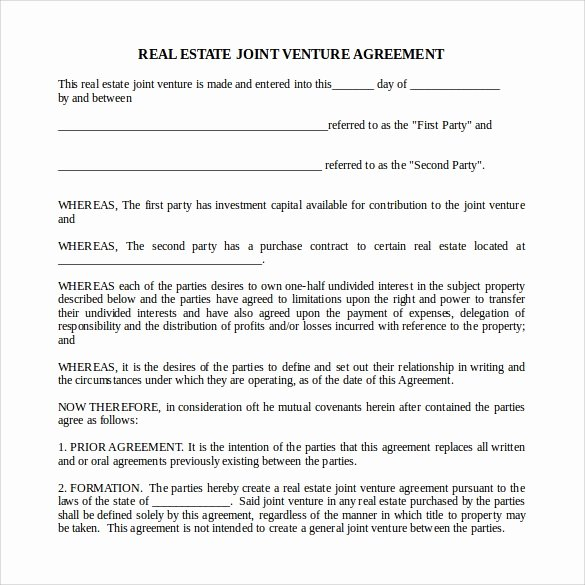 Partnership Agreement Template Word Beautiful Sample Real Estate Partnership Agreement 13 Free