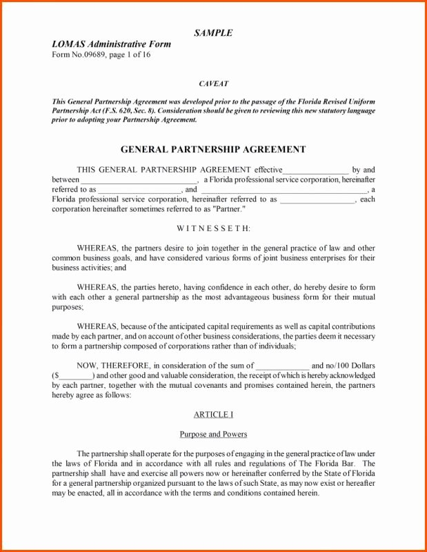 Partnership Agreement Template Word New Partnership Agreement Template Word