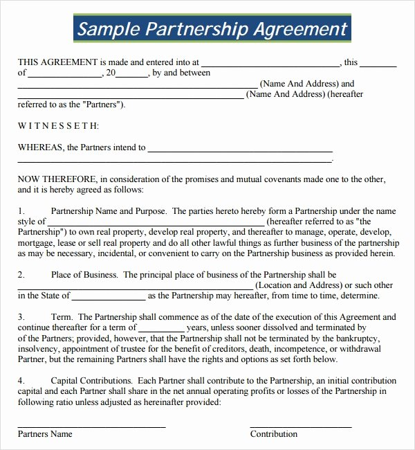 Partnership Agreement Template Word New Sample Partnership Agreement 24 Free Documents Download