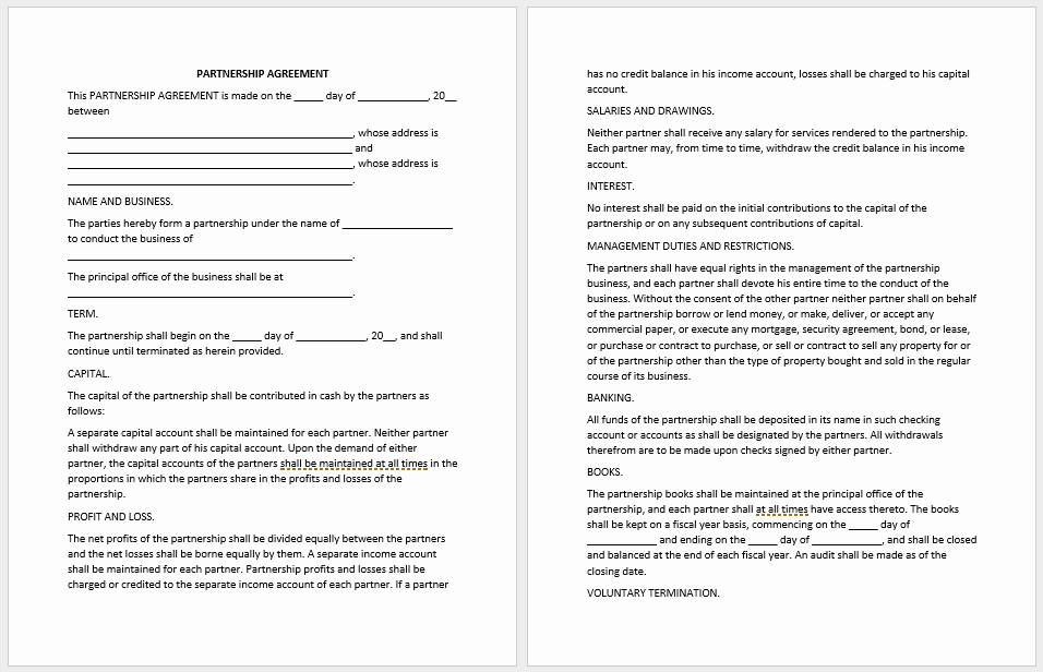 Partnership Agreement Template Word Unique Partnership Agreement Templates 21 Free Samples or