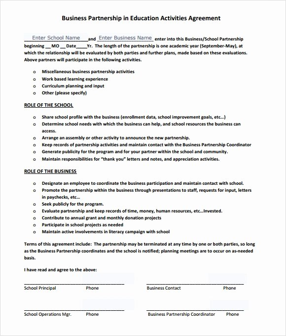 Partnership Agreement Template Word Unique Sample Business Partnership Agreement – 10 Documents In