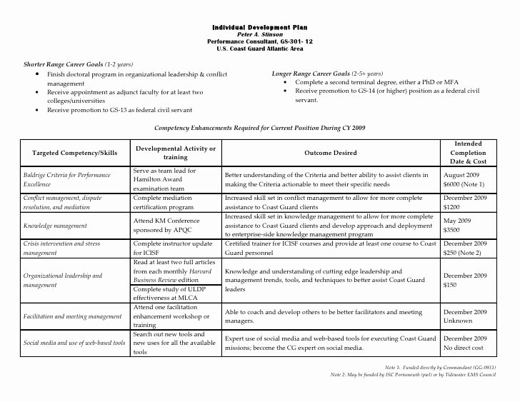 Personal Development Plan Template Beautiful Individual Development Plan Peter …