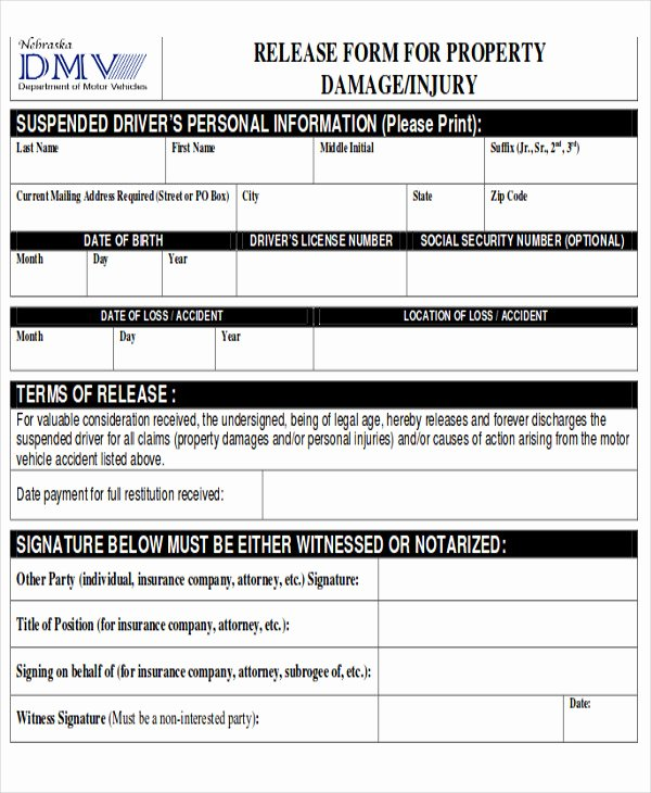 Personal Injury Waiver form Awesome Sample Property Damage Release form 9 Examples In Word Pdf