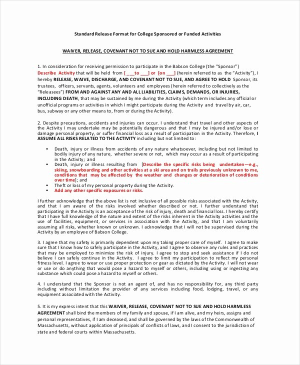 Personal Injury Waiver form Elegant Group Fitness Waiver Template Australia All S