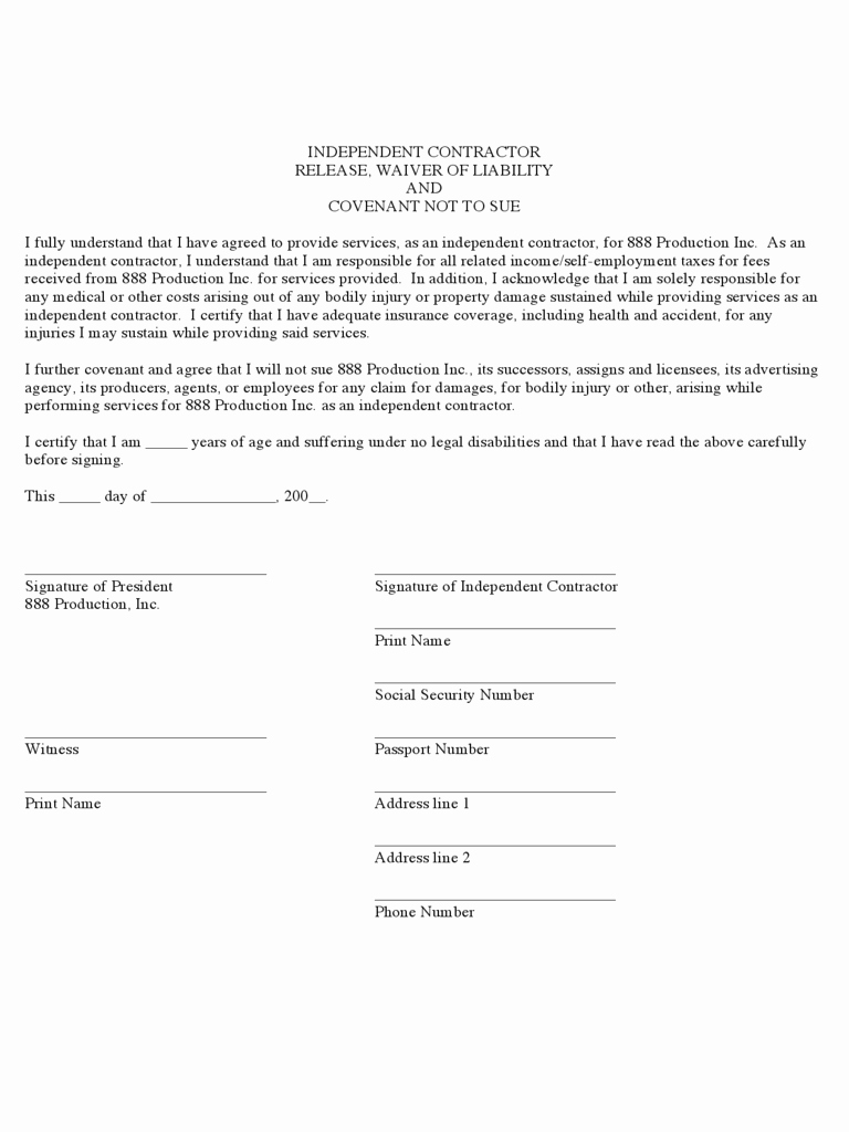 Personal Injury Waiver form Fresh Contractor Liability Waiver form