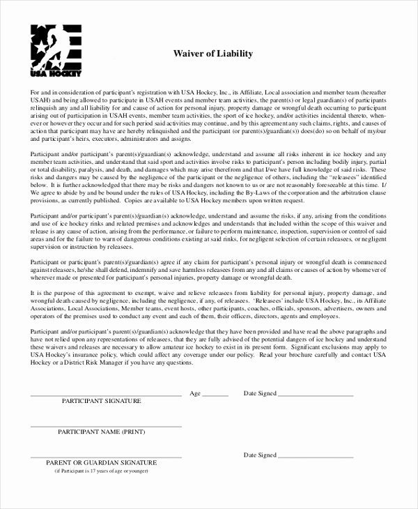 Personal Injury Waiver form Fresh Free 10 Sample Waiver Of Liability forms In Pdf