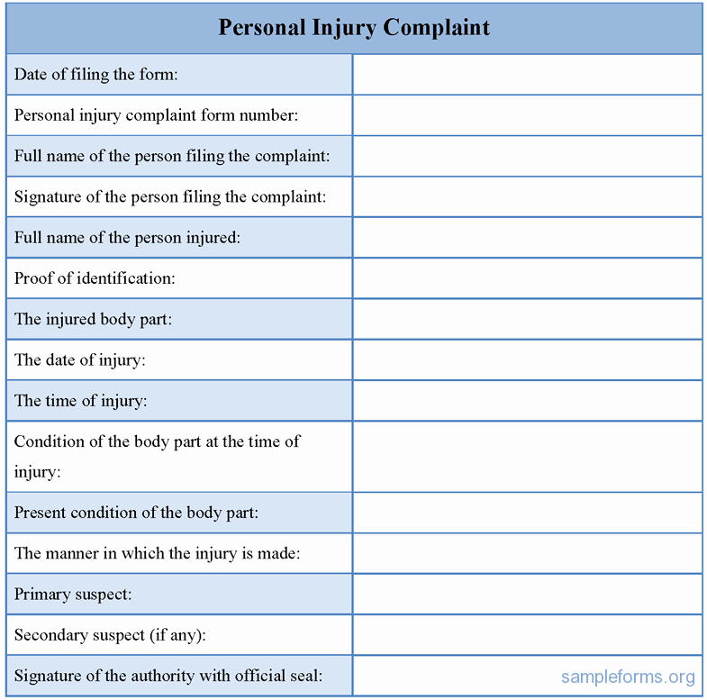 personal injury form template