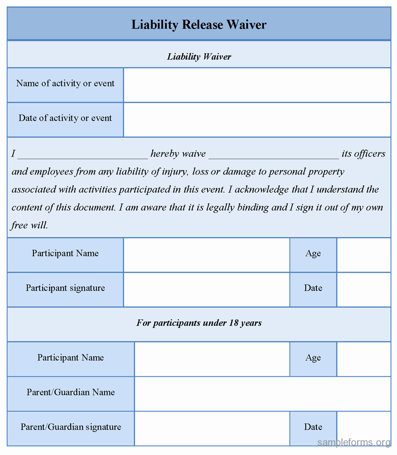 Personal Injury Waiver form Inspirational Free Printable Liability Release form Template form Generic