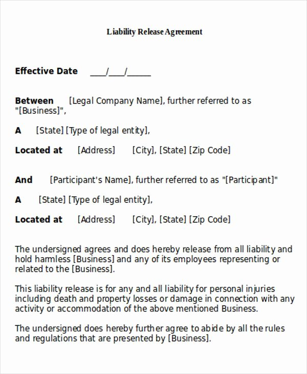 Personal Injury Waiver form Inspirational General Release Of Liability form Sample 7 Examples In