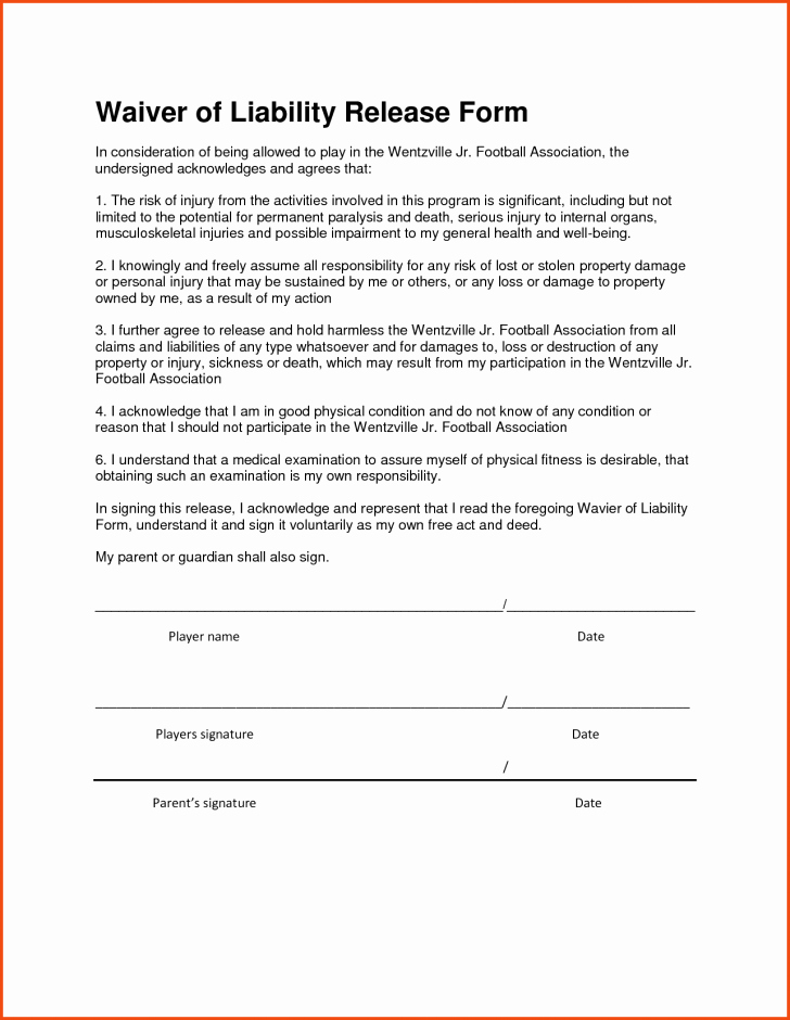 Personal Injury Waiver form Inspirational Liability Waiver Template Word Picture form Construction