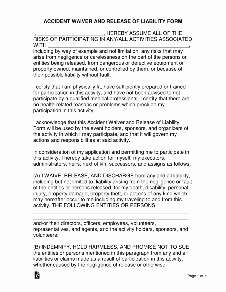 Personal Injury Waiver form Lovely Free Location Release Of Liability form Word