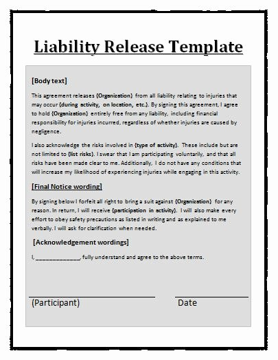 Personal Injury Waiver form Luxury Free Printable Liability Release form Template form Generic