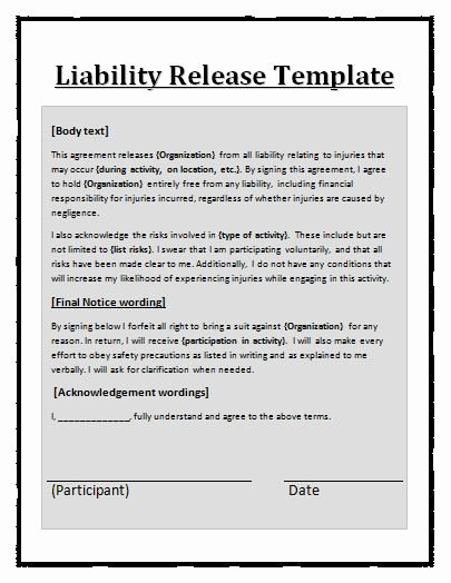 Personal Injury Waiver form Luxury Liability Waiver Template