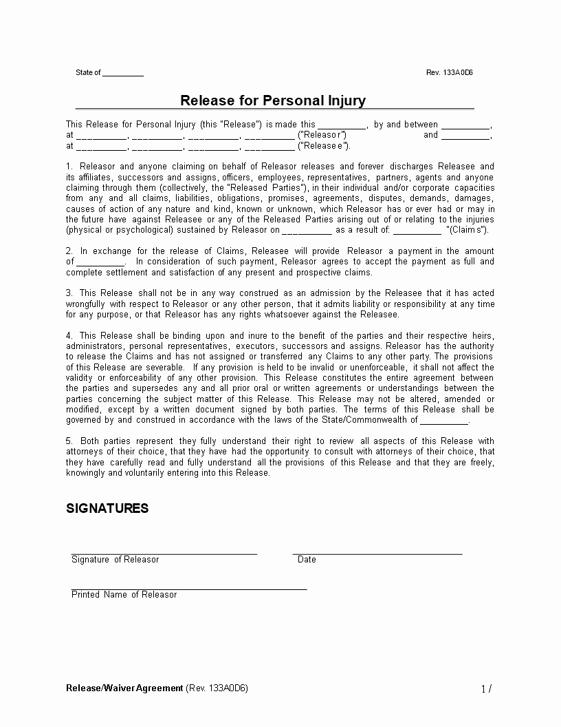 Personal Injury Waiver form Unique Personal Injury Release Waiver Agreement