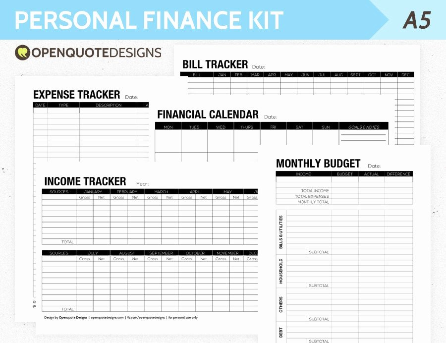 Personal Monthly Budget Template Best Of A5 Filofax Finance Printable Personal Finance Kit Monthly