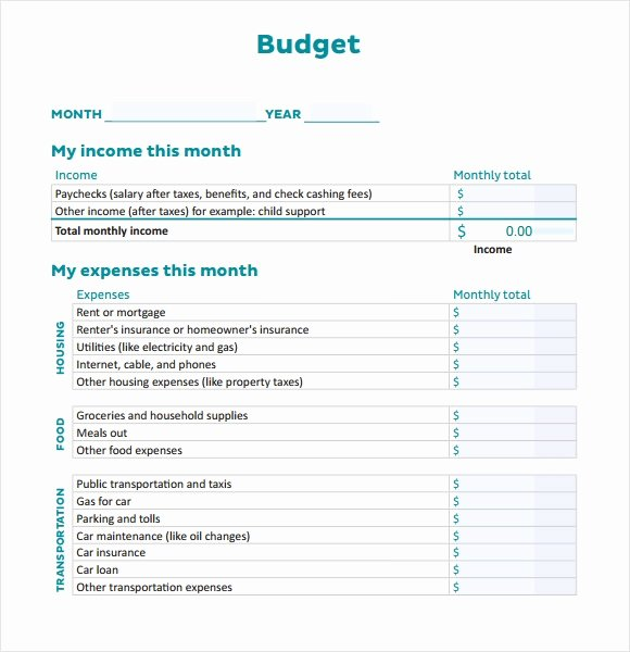 Personal Monthly Budget Template Elegant 6 Sample Personal Bud Documents In Pdf Word Excel