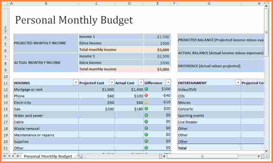 Personal Monthly Budget Template Unique 8 Monthly Expenses Spreadsheet Template