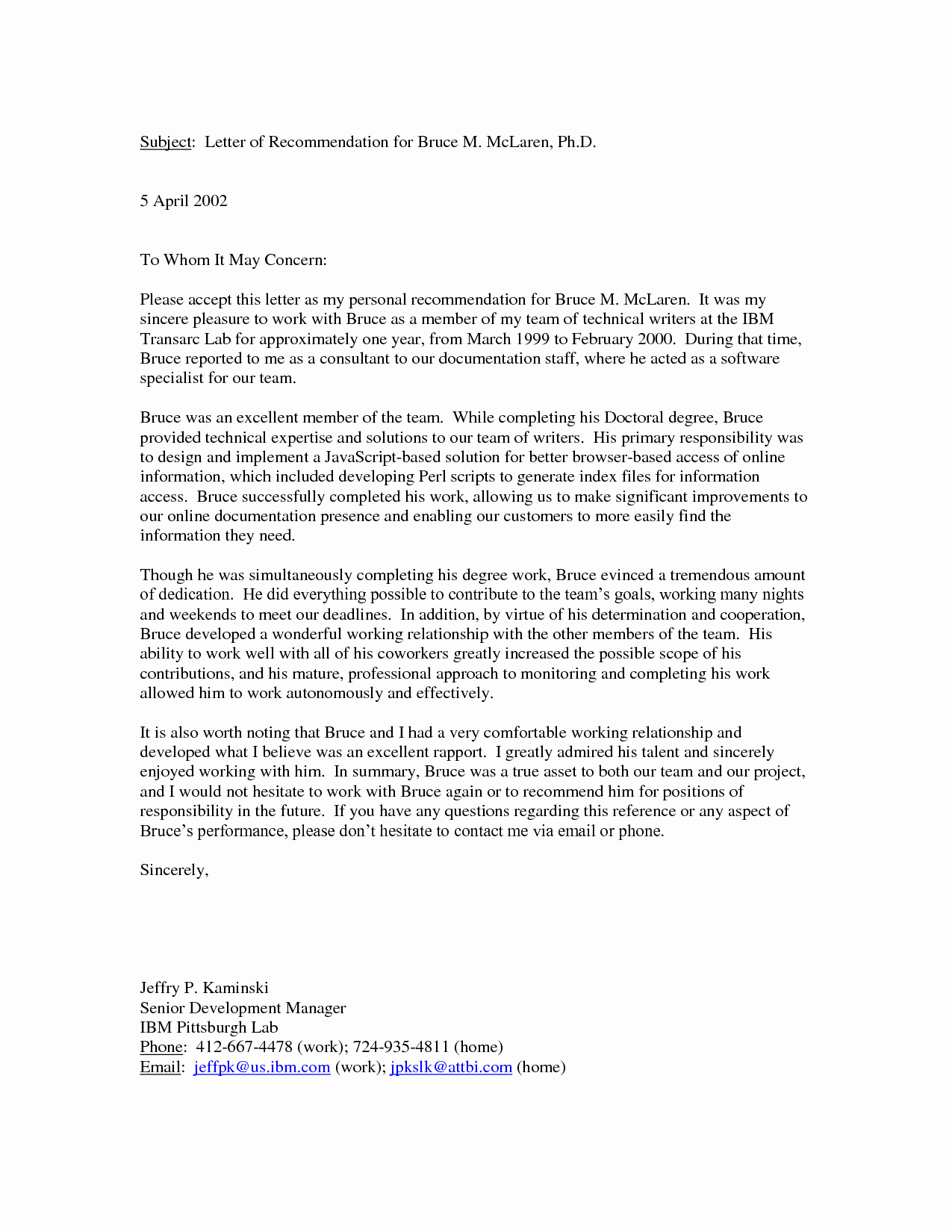 Personal Recommendation Letter Sample New Personal Letter Re Mendation