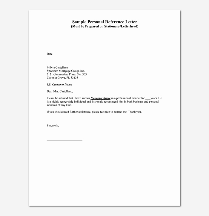 Personal Recommendation Letter Sample Unique Reference Letter Template 28 Examples & Samples