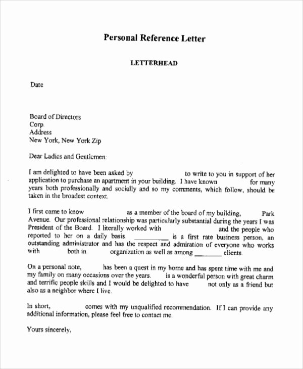 Personal Recommendation Letter Sample Unique Sample Personal Reference Letter 7 Examples In Word Pdf