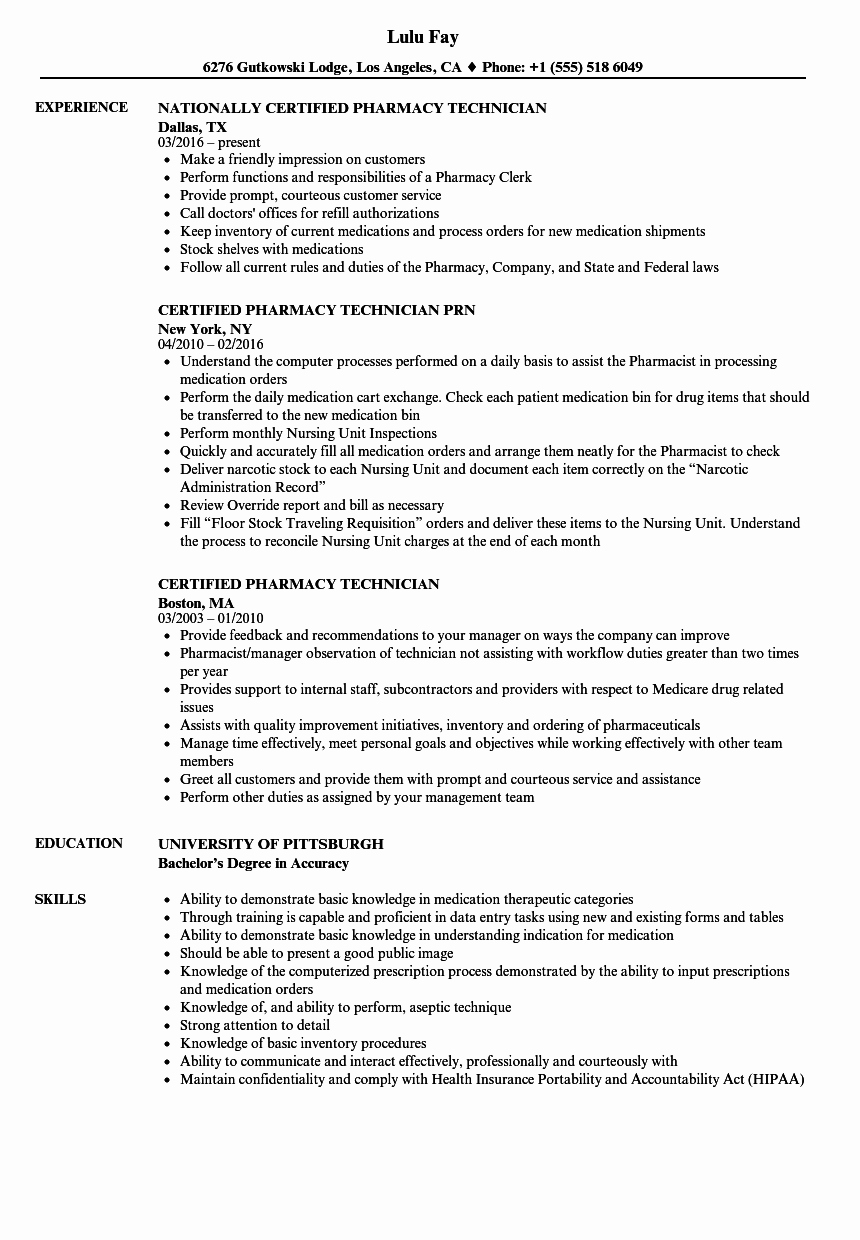 Pharmacy Tech Resume Samples Awesome Certified Pharmacy Technician Resume Samples