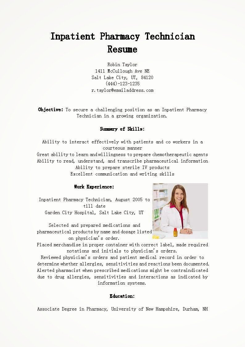 Pharmacy Tech Resume Samples Awesome Resume Samples Inpatient Pharmacy Technician Resume Sample