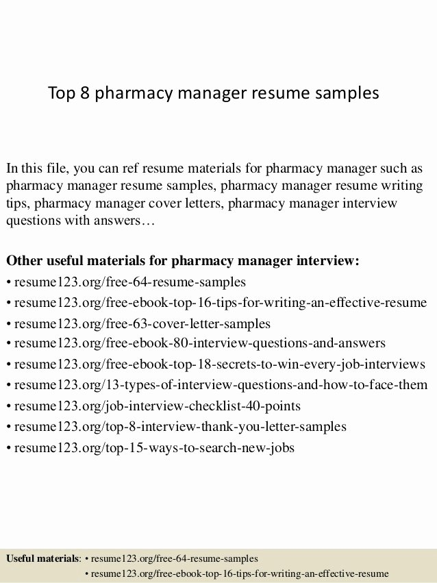 Pharmacy Tech Resume Samples Awesome top 8 Pharmacy Manager Resume Samples