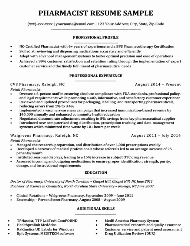 Pharmacy Tech Resume Samples Beautiful Pharmacist Resume Sample & Writing Tips