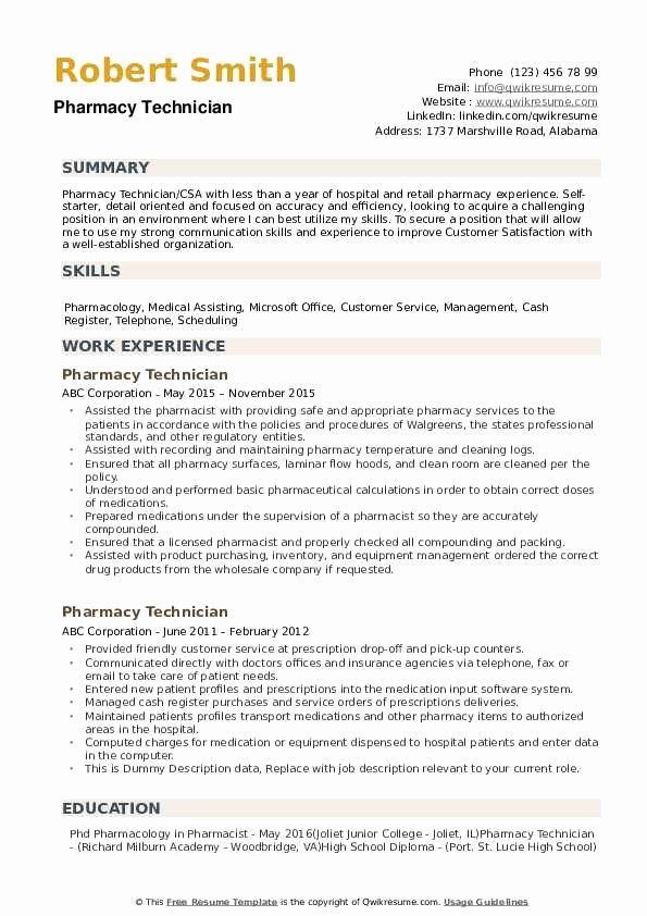 Pharmacy Tech Resume Samples Beautiful Pharmacy Technician Resume Samples