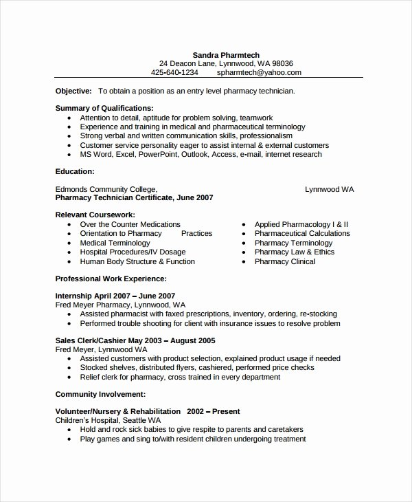 Pharmacy Tech Resume Samples Best Of Pharmacist Resume Template 6 Free Word Pdf Document