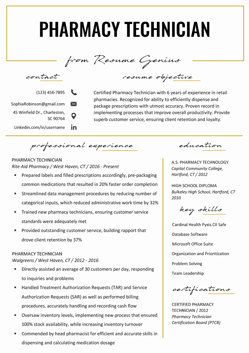 Pharmacy Tech Resume Samples Best Of Pharmacy Technician Resume Example & Writing Tips