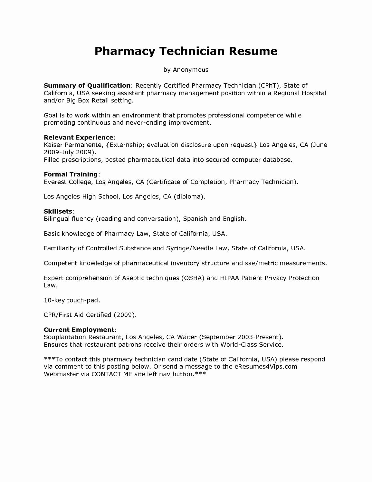 Pharmacy Tech Resume Samples Best Of Sample Resume for Pharmacy Technician