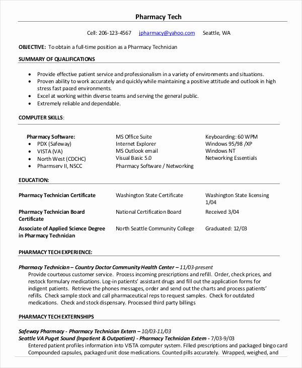 Pharmacy Tech Resume Samples Elegant 10 Pharmacy Technician Resume Templates Pdf Doc
