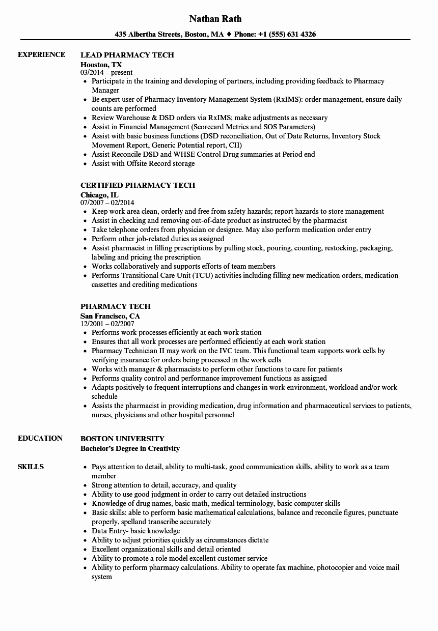 Pharmacy Tech Resume Samples Inspirational Pharmacy Tech Resume Samples