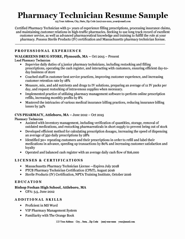 Pharmacy Tech Resume Samples Lovely Pharmacy Tech Resume Resume Sample