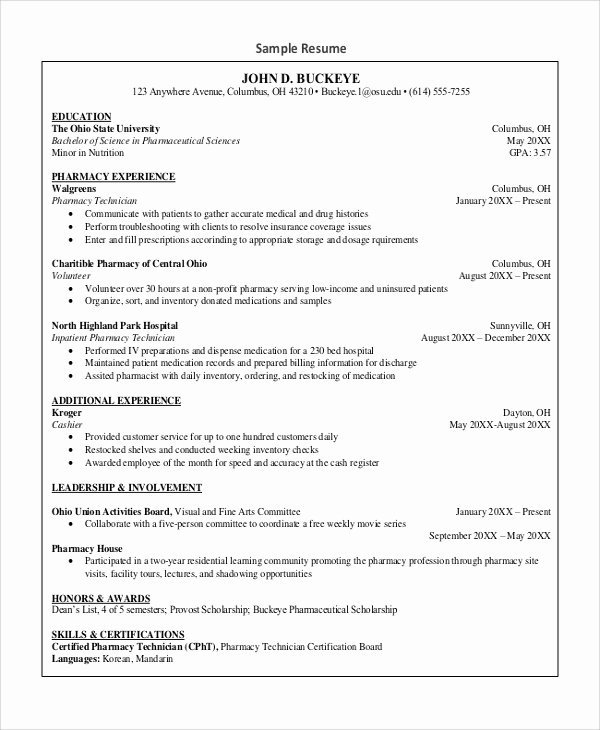 Pharmacy Tech Resume Samples Luxury Sample Pharmacy Technician Resume 7 Examples In Word Pdf