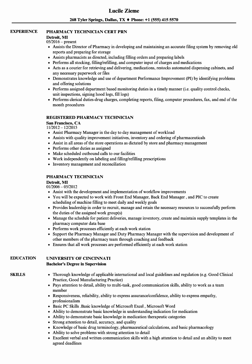 Pharmacy Tech Resume Samples New Pharmacy Technician Resume Samples
