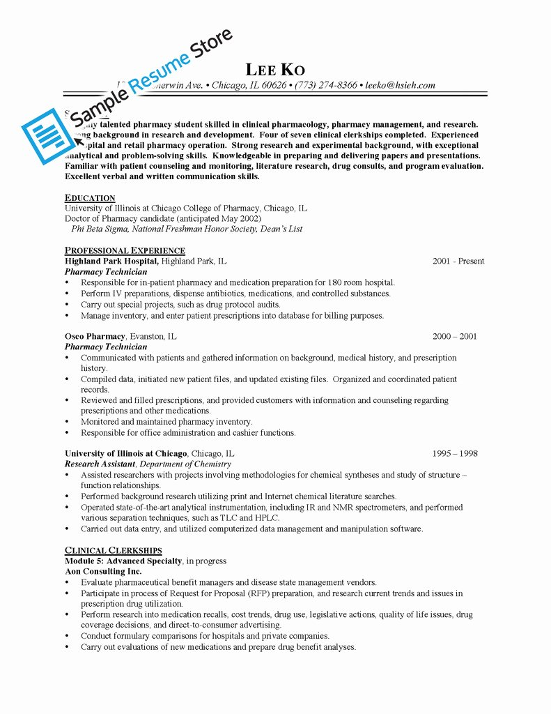 Pharmacy Tech Resume Samples New Sample Resume for Pharmacy Technician