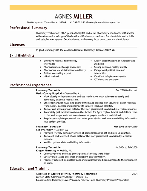 Pharmacy Tech Resume Samples Unique Best Pharmacy Technician Resume Example