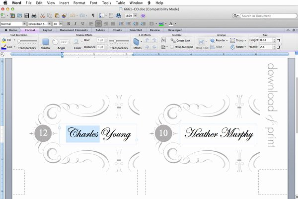 Place Card Template Word Awesome Elegant Place Card Template – Download & Print